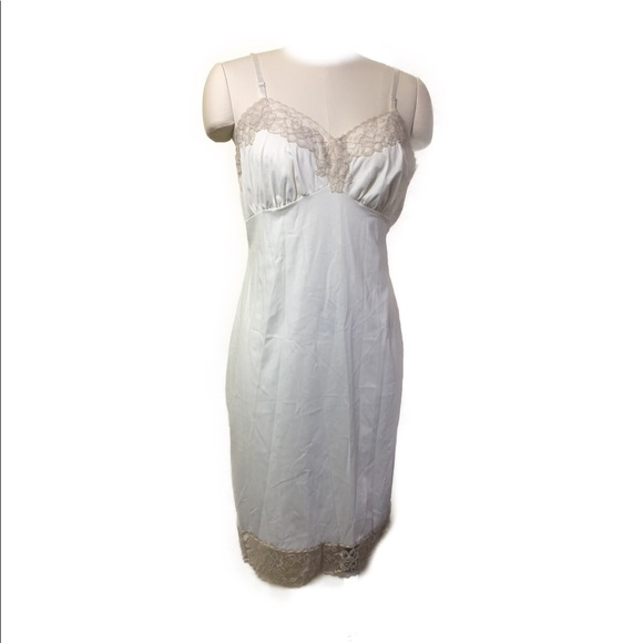 Vintage Cream and Champagne Lace Slip